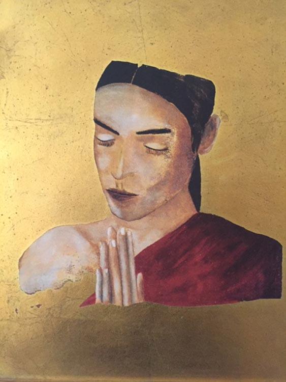Donna che prega Olio su Tavola Fondo Oro 40 30